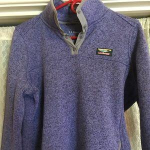 LLBean women's knitted quarter snap pullover